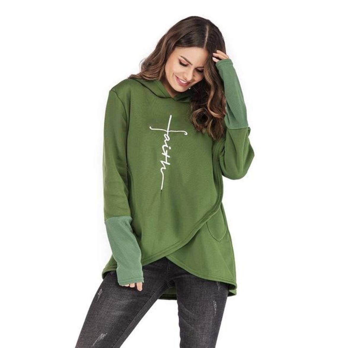 Faith in God Cute Hoodie!   Long sweatshirt, Embroidered