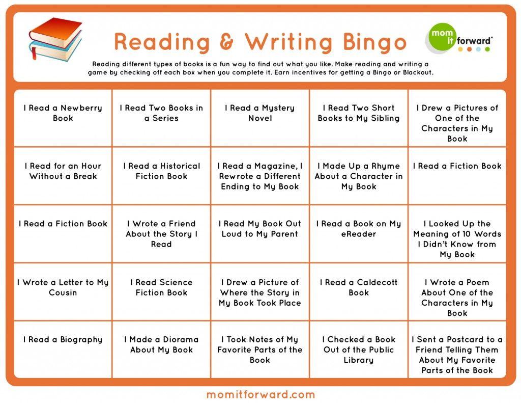 Reading And Writing Bingo Printable