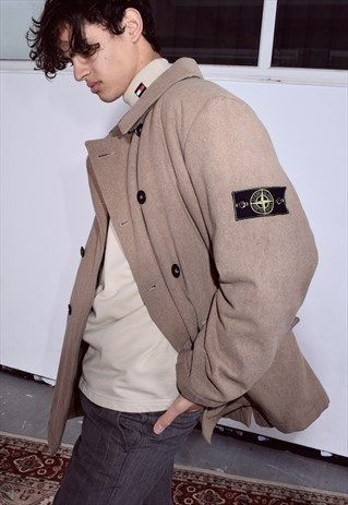 58a26319 RARE VINTAGE STONE ISLAND LIGHT BROWN WOOLLEN PEA COAT | RARE ...