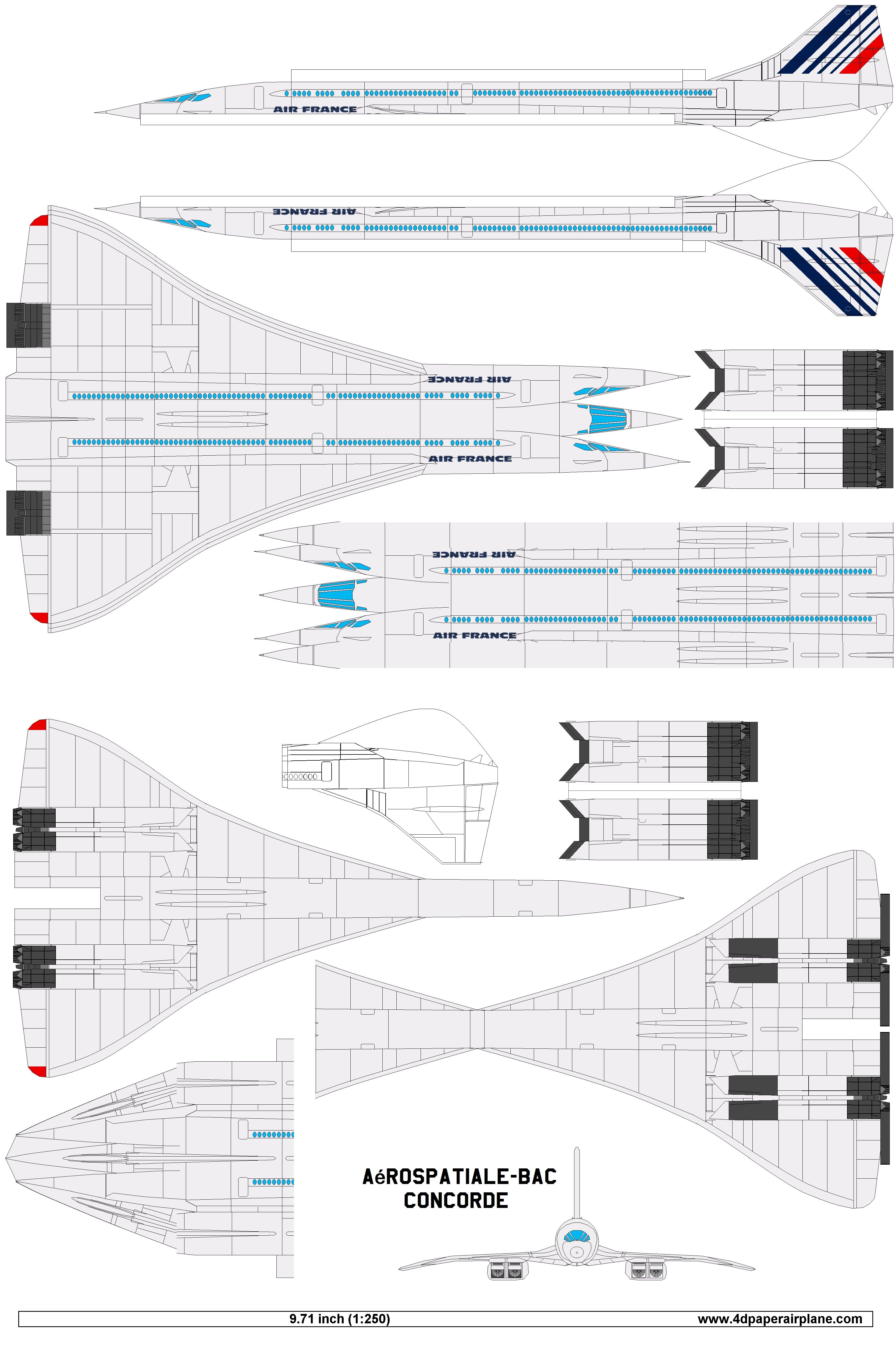 4D Model Template Of Concorde Air France 4dpa