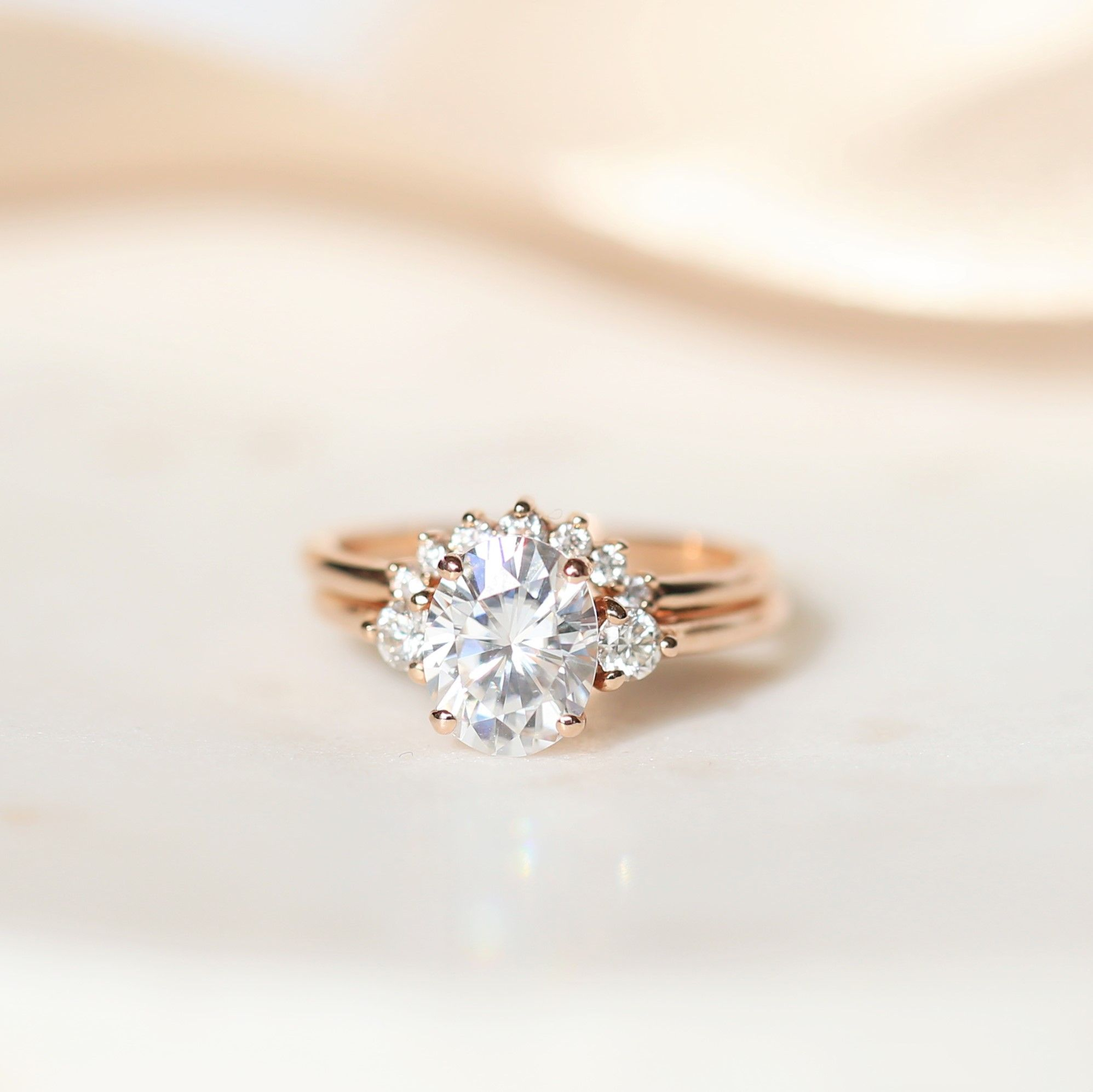 d2d75fc44d23e Rosados Box Gloria 9x7mm   Rayna 14kt Rose Gold Oval F1- Moissanite ...