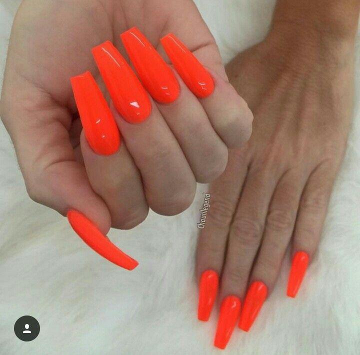 Chaun Legend Orange Acrylic Nails Orange Nails Neon Acrylic Nails