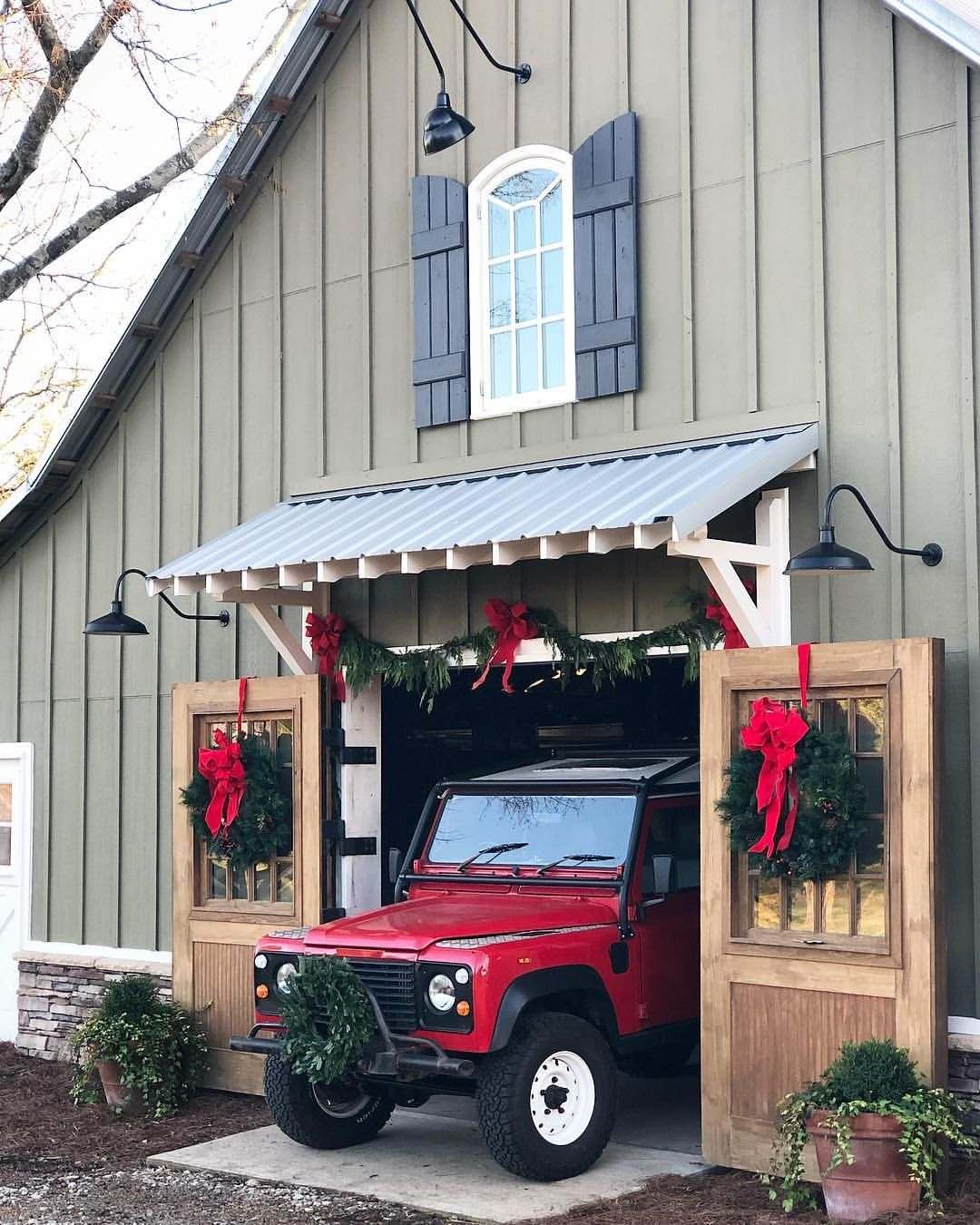 The Barn Looks Even Cuter Dressed Up For Christmas This Year With The New Awning Jeffrey Added And Red Rover Looks Pretty House Awnings Red Barn House Awning