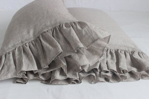 Frill Pillow Sham Pillowcase with ruffles Standard Queen King Euro Pillow Case Slip Cushion Cover Softened Pre-Washed Organic Bedding Flax