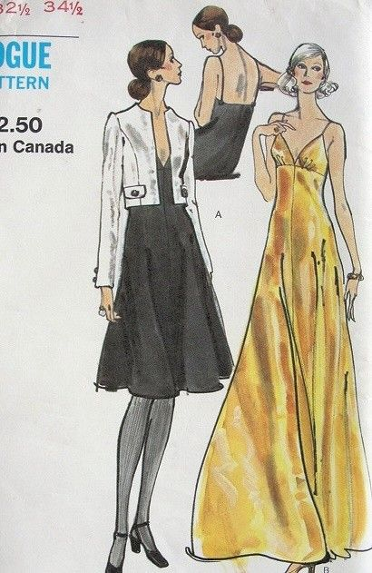 1960s High Waisted Slip Dress Gown Pattern Fitted Crop Jacket Vogue 8190 Vintage Sewing Patter Vogue Dress Patterns Slip Dress Pattern Cocktail Evening Dresses