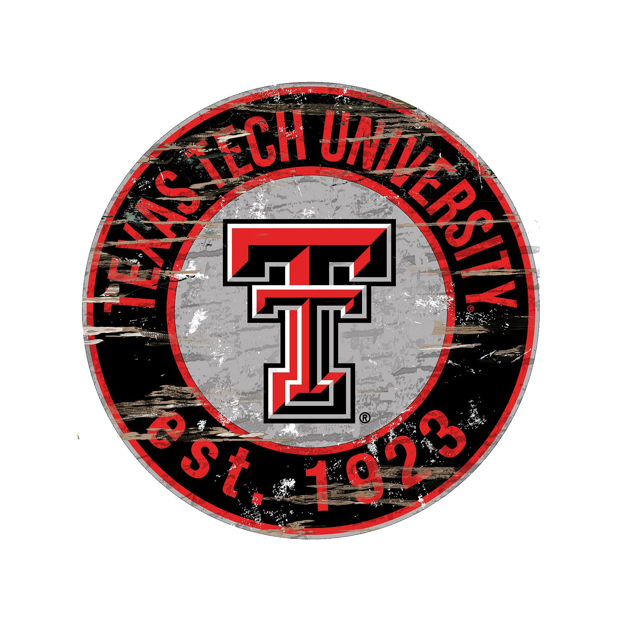 "Texas Tech Red Raiders Distressed 24"" x 24"" Round Wall Art"