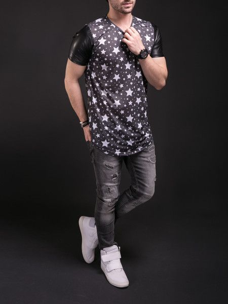 N R Men Stars Perforated Faux Leather Sleeves T-shirt - Black ... 63c01a0242e