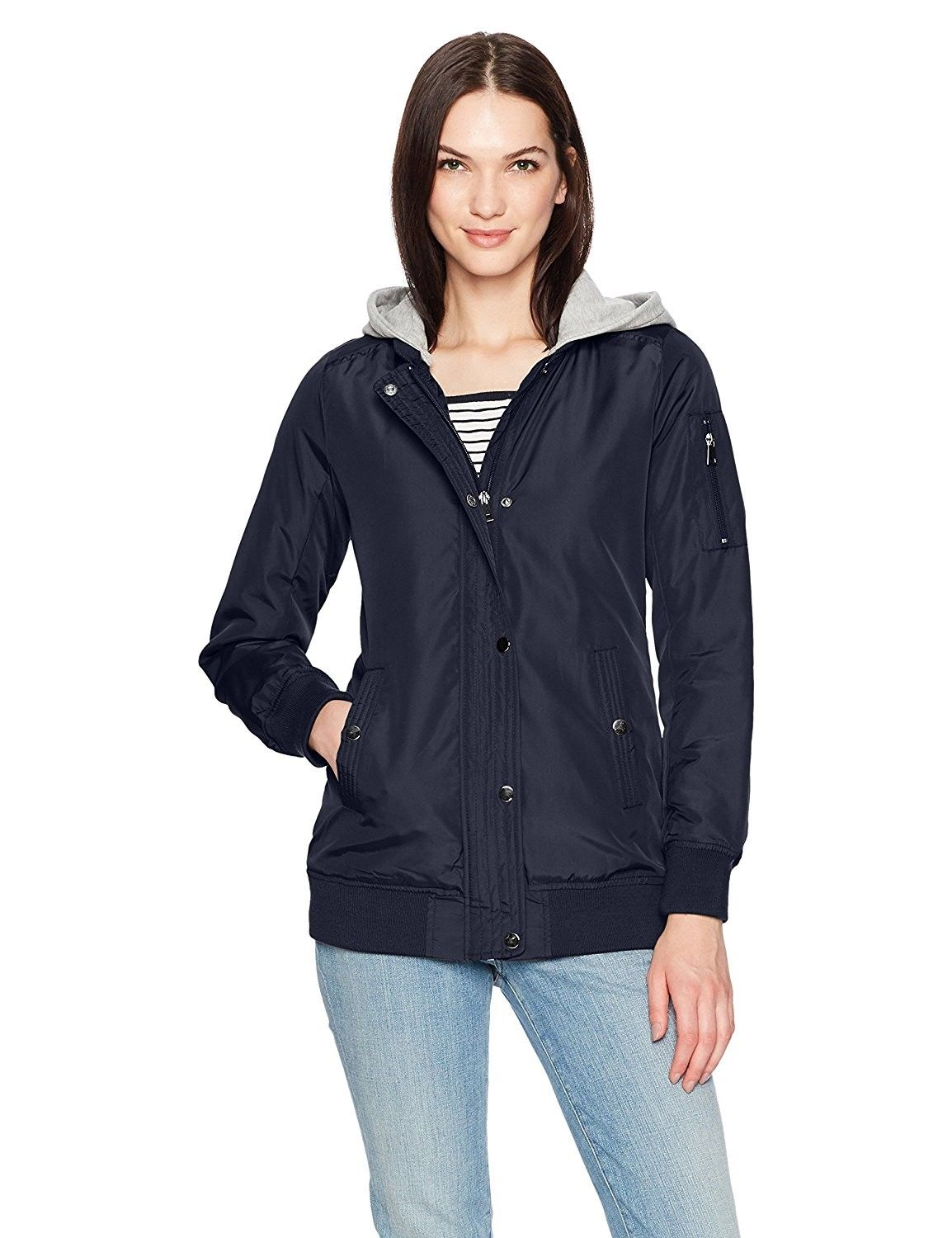 Women's Long Bomber Jacket With Fleece Hood Navy