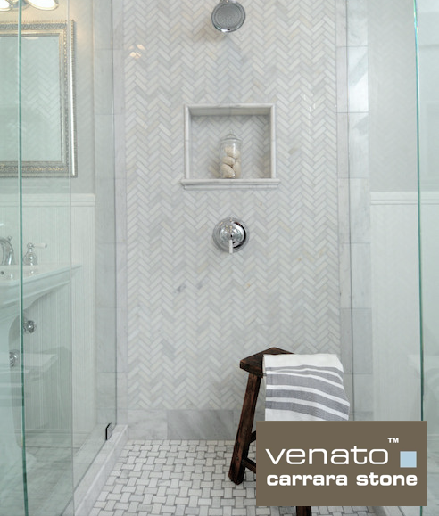 Venato Marble Shower With 1×3 Herringbone And Basketweave