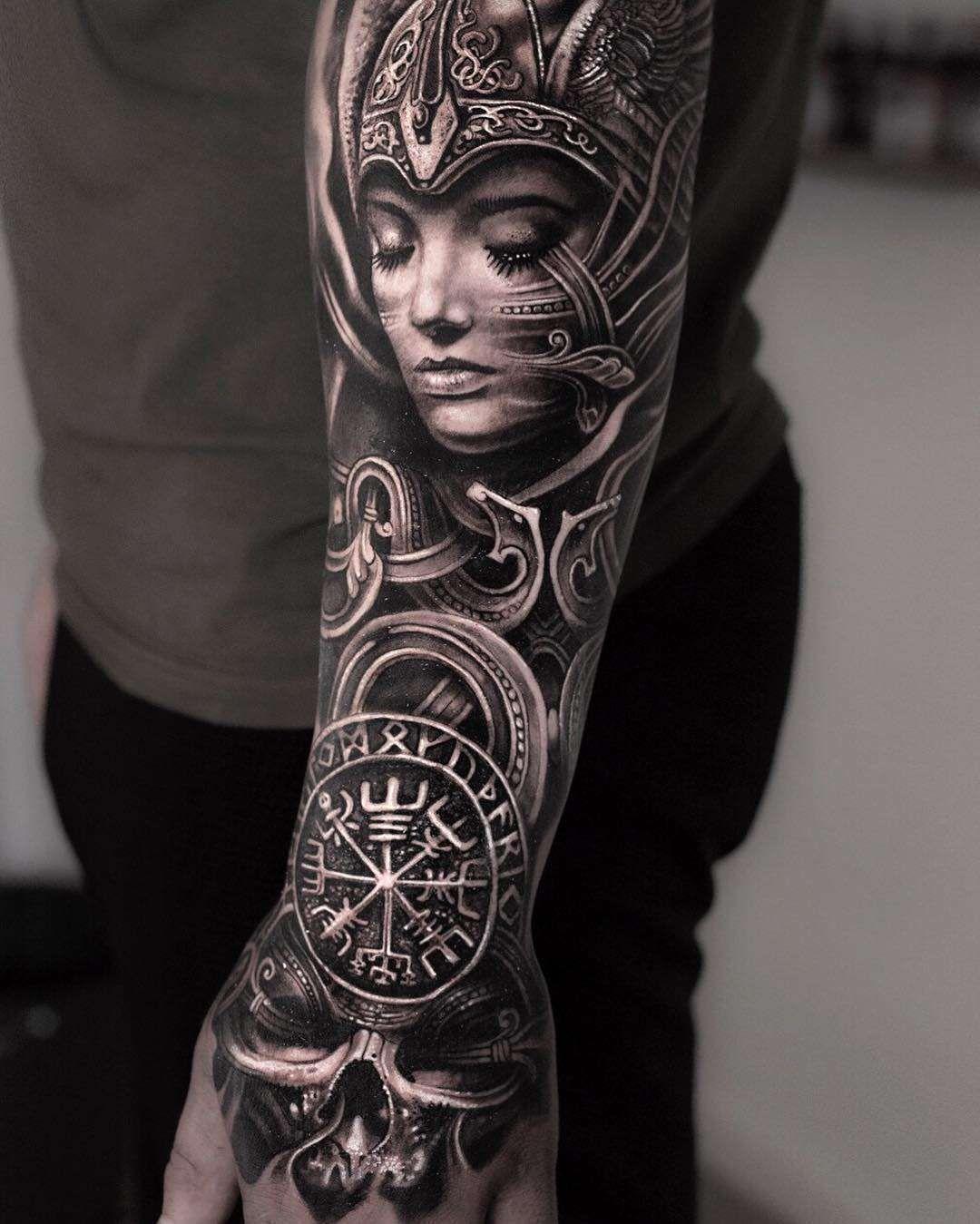 Scandinavian Images In Mumia S Tattoos Viking Tattoo Sleeve Valkyrie Tattoo Tattoos