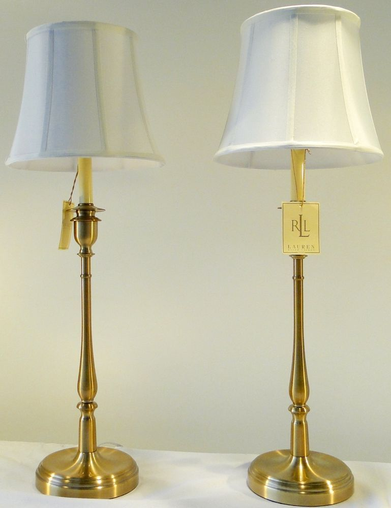 Two Ralph Lauren Home Tall Darien Candlestick Antiqued Brass Gold Table Lamps Buffet Lamps Gold Table Lamp Lamp