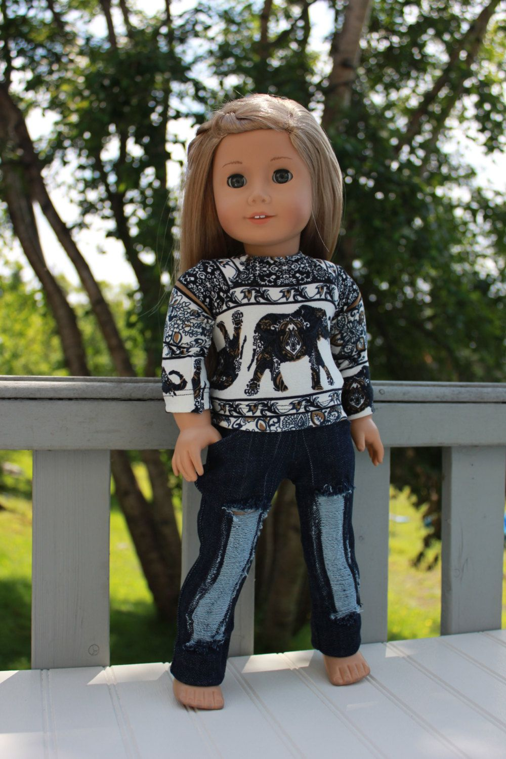 Dark Denim Jean Pants for 18 inch American Girl Doll Clothes