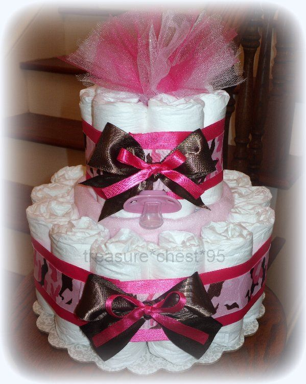 Pink Camouflage Diaper Cake Hidden Gifts Baby Shower Centerpiece