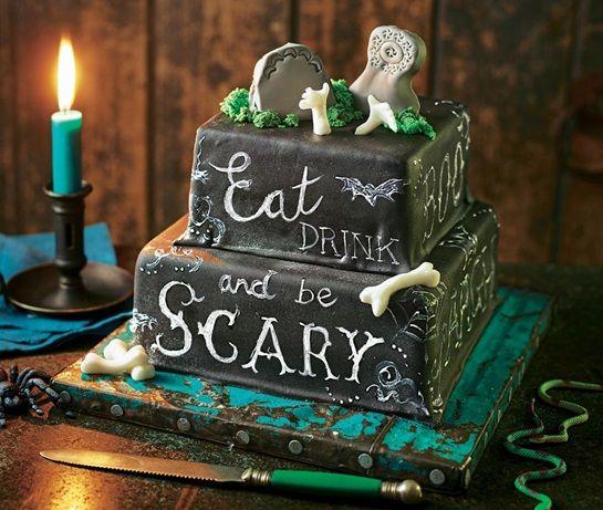 Blackboard tombstone cake Recipe Asda Halloween Food - asda halloween decorations