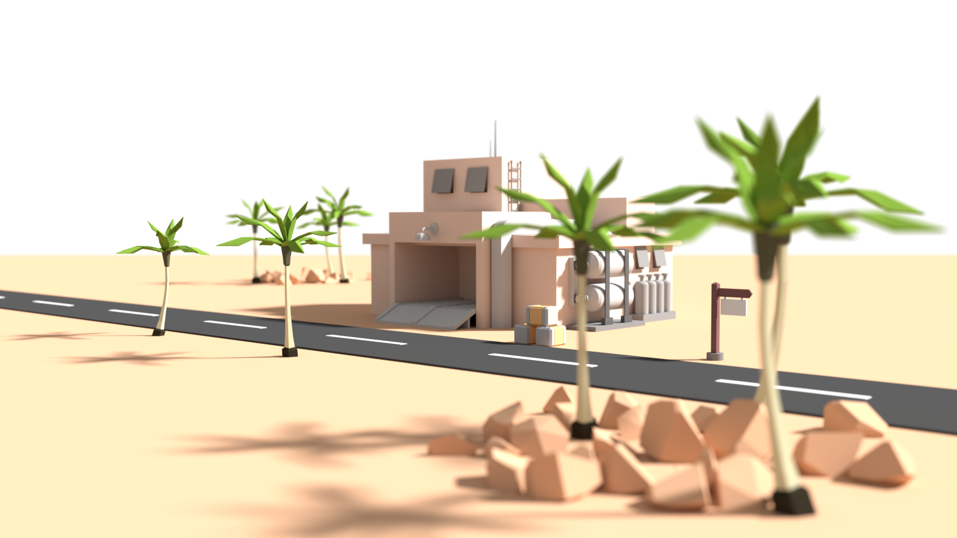 Low poly desert outpost