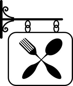 restaurant clipart image restaurant sign featuring a fork and spoon rh pinterest com restaurant clip art to print restaurant clipart free
