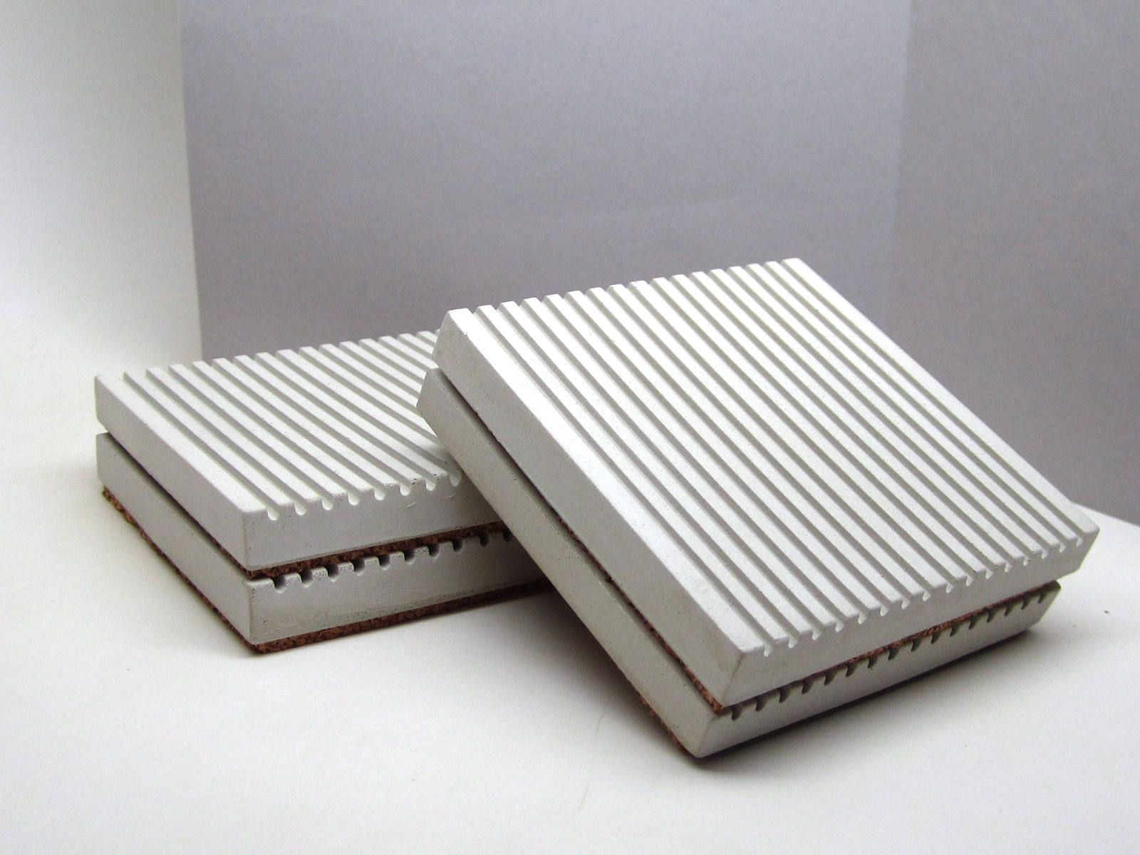 Concrete Coasters Modern Coasters Coaster Set Of Cork Bottom - Cork coaster bottoms
