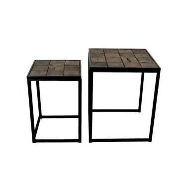 This side table features a black metal frame with a recycled wooden ...