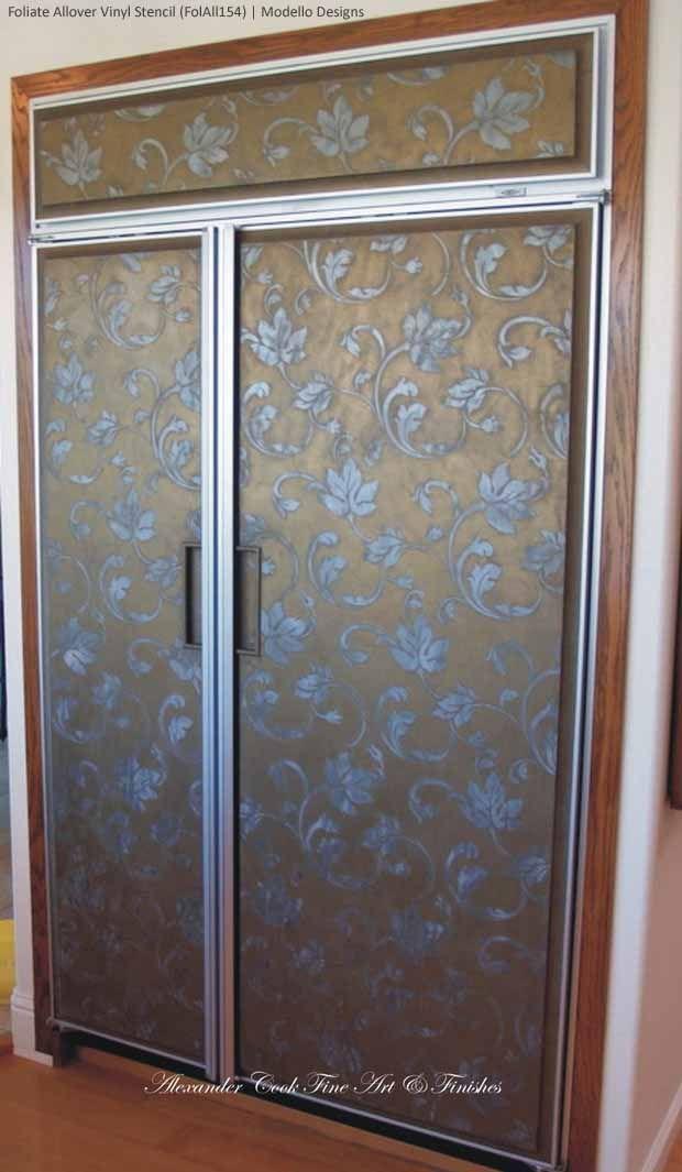Large Flourish Allover Stencil On Refrigerator Lusterstone