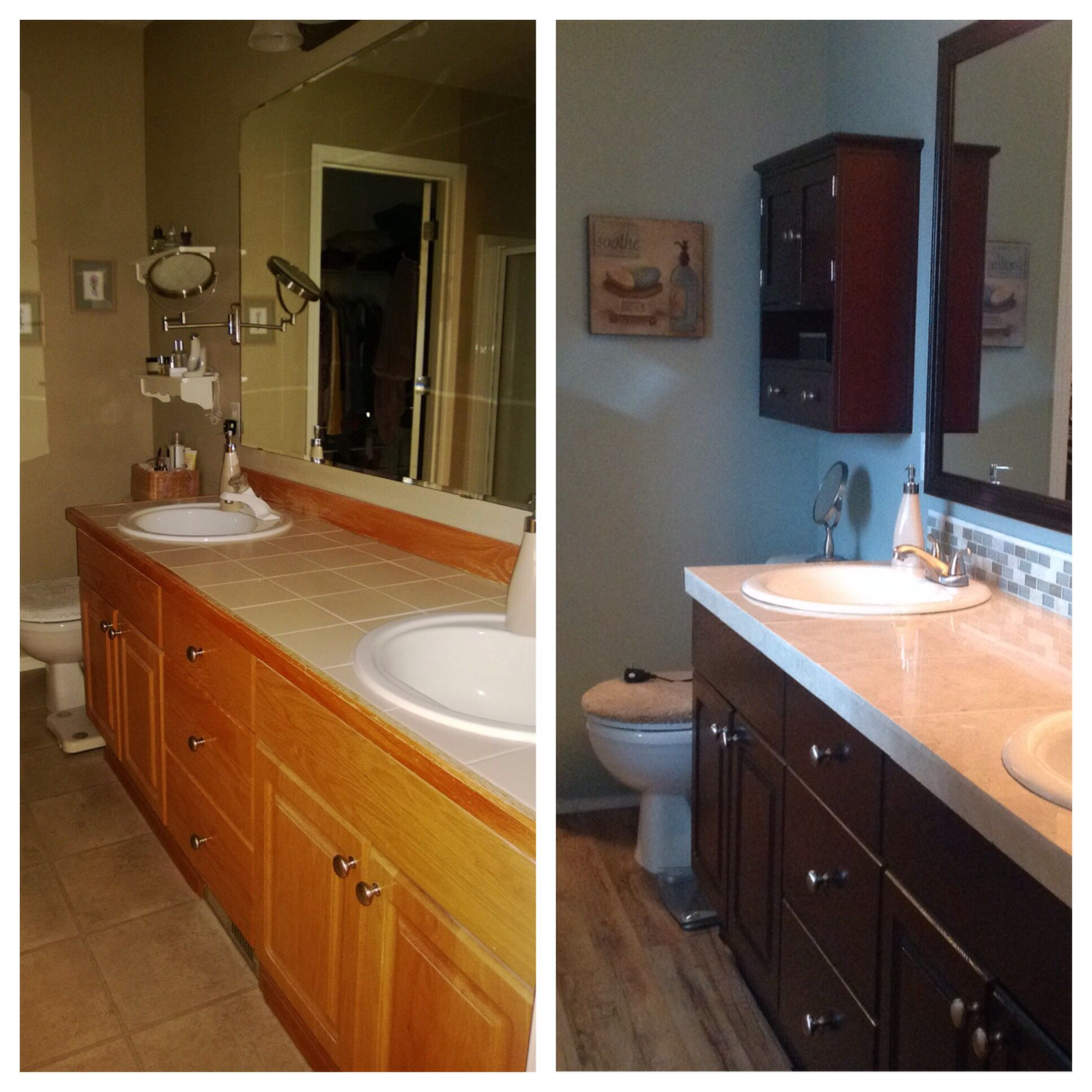 DIY bath remodel, Java Gel stained cabinets, Benjamin Moore Sea ...