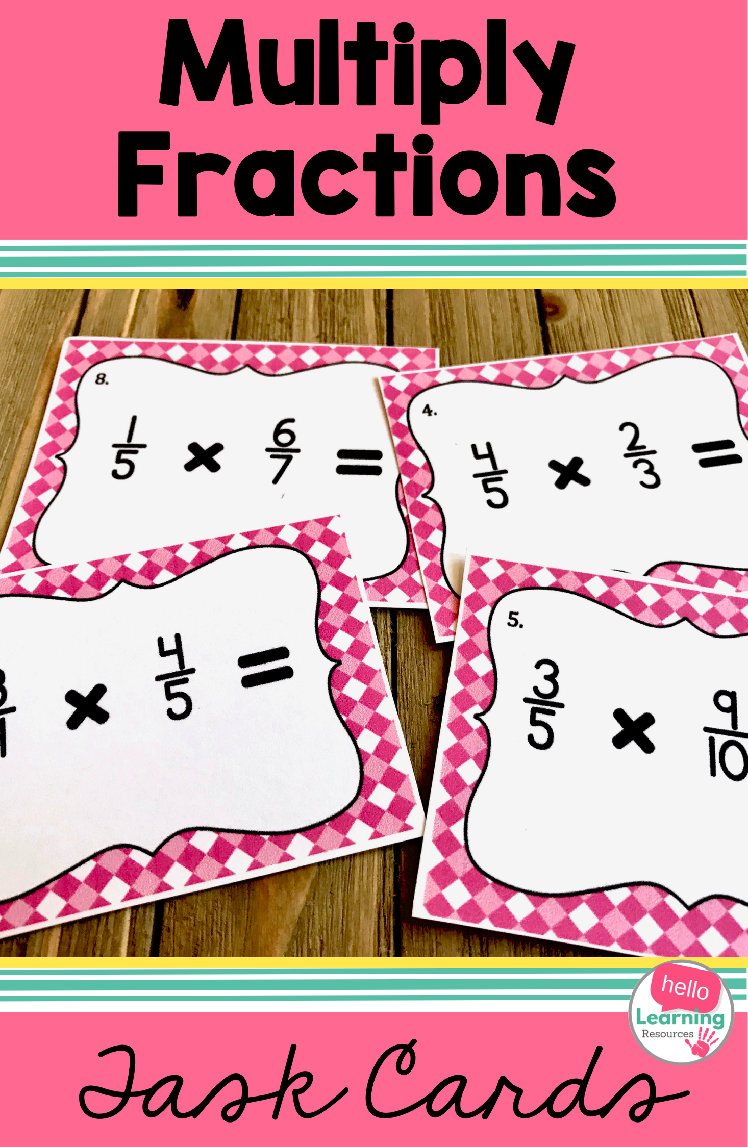 Multiply Fractions With Unlike Denominators Task Cards
