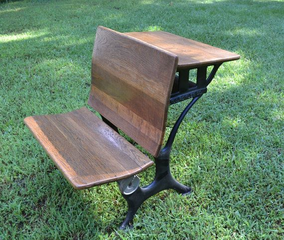 Vintage E.W.A. Rowles Co. Childs School Desk with Chair Cast Iron and Wood  PanchosPorch - Vintage E.W.A. Rowles Co. Childs School Desk With Chair Cast Iron