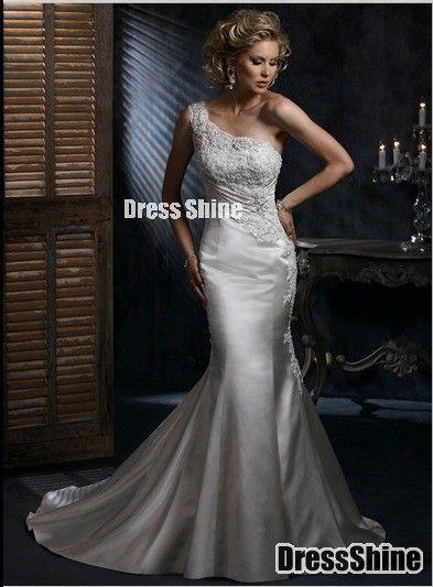 Gorgeous Trumpet/Mermaid One-Shoulder Satin Wedding Dress - Luxury Dresses - Wedding Dresses