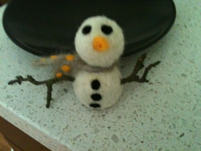 My newest felted snowman.  He is so easy, and oh so cute!