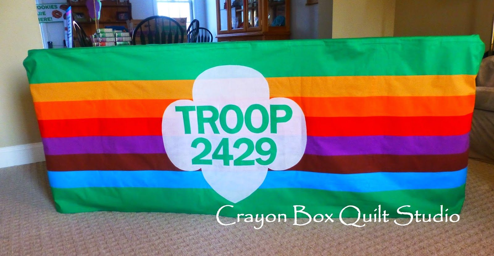 my custom troop tablecloth that will also be our parade banner rh pinterest com