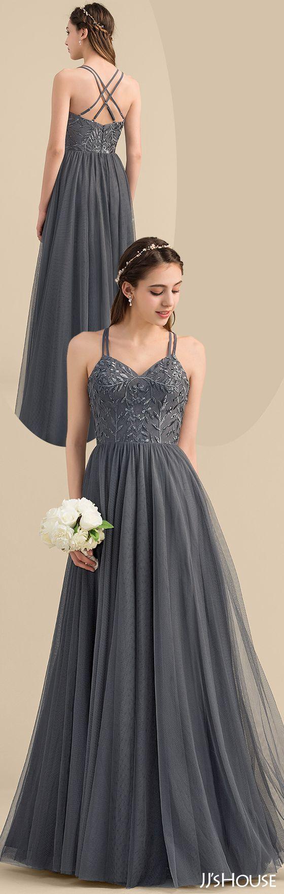 Alineprincess sweetheart floorlength tulle lace bridesmaid dress