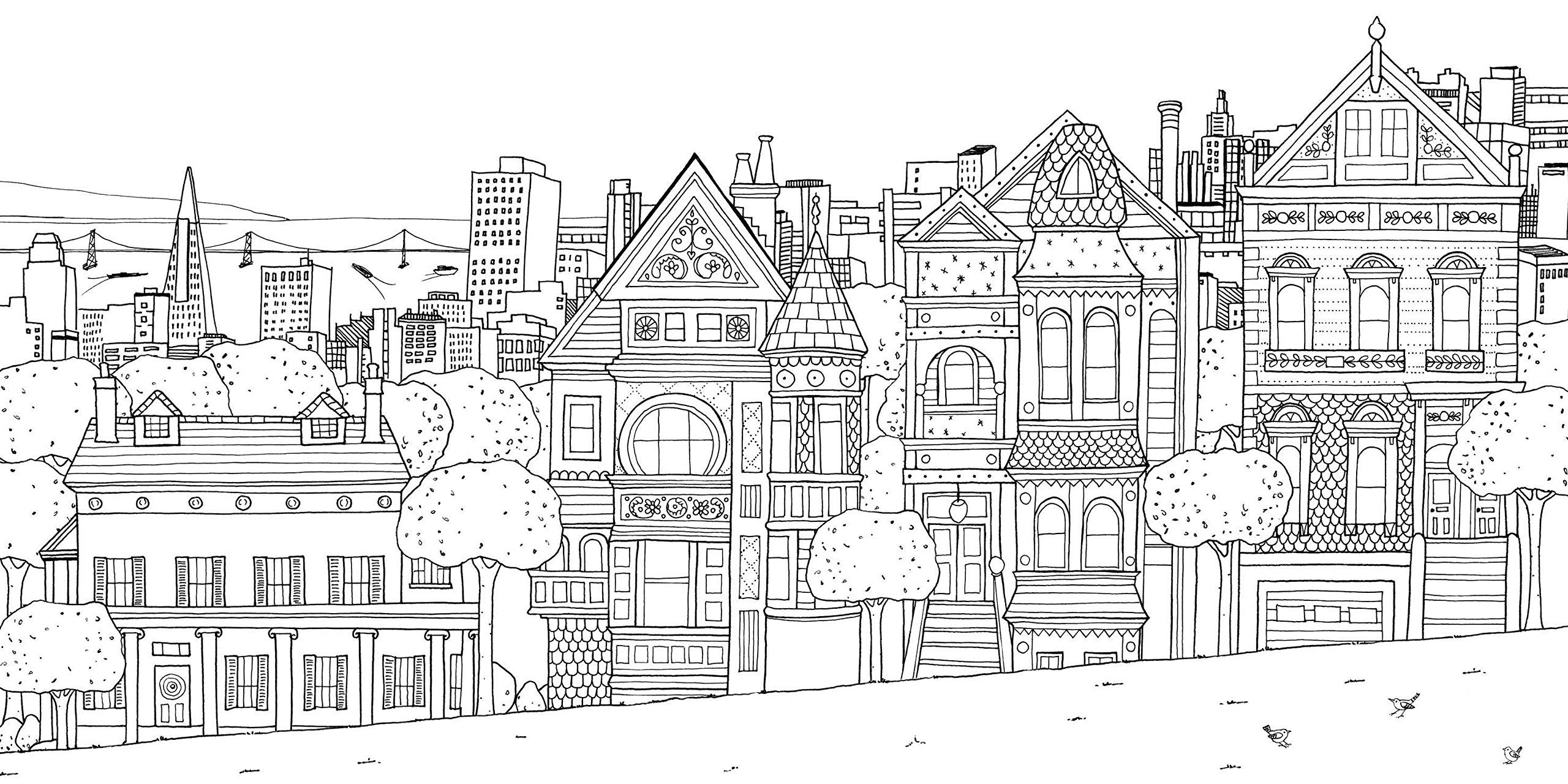 free coloring page «coloring-san-franscico-houses». | fonts