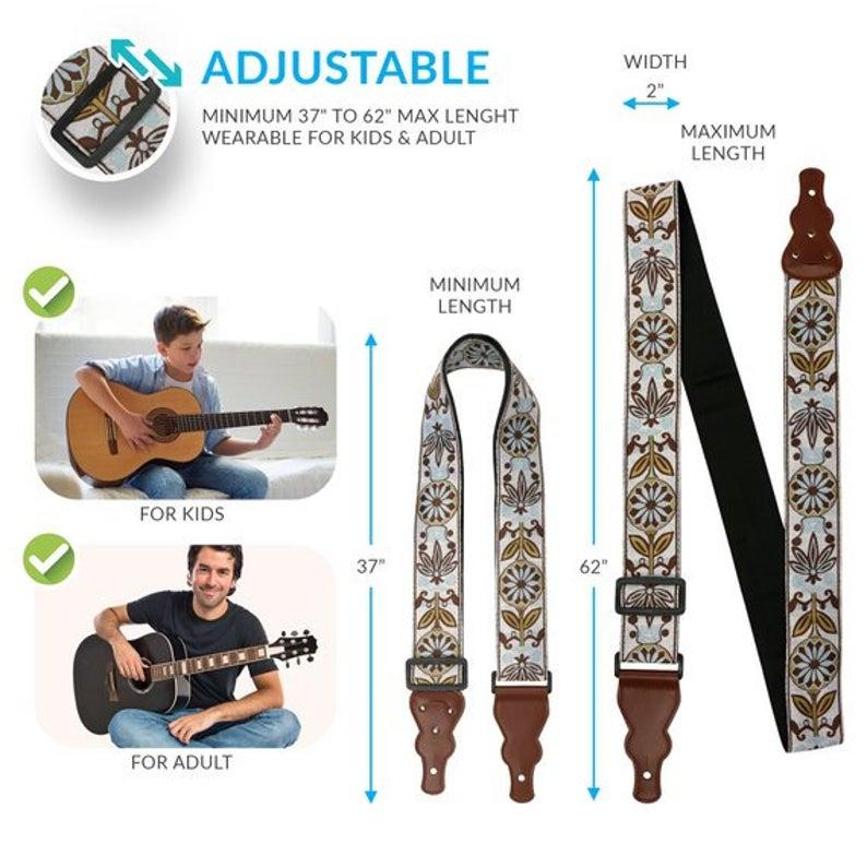 2 Guitar Strap, Vintage Guitar Strap, Acoustic guitar strap gift for guitar player. #vintageguitars