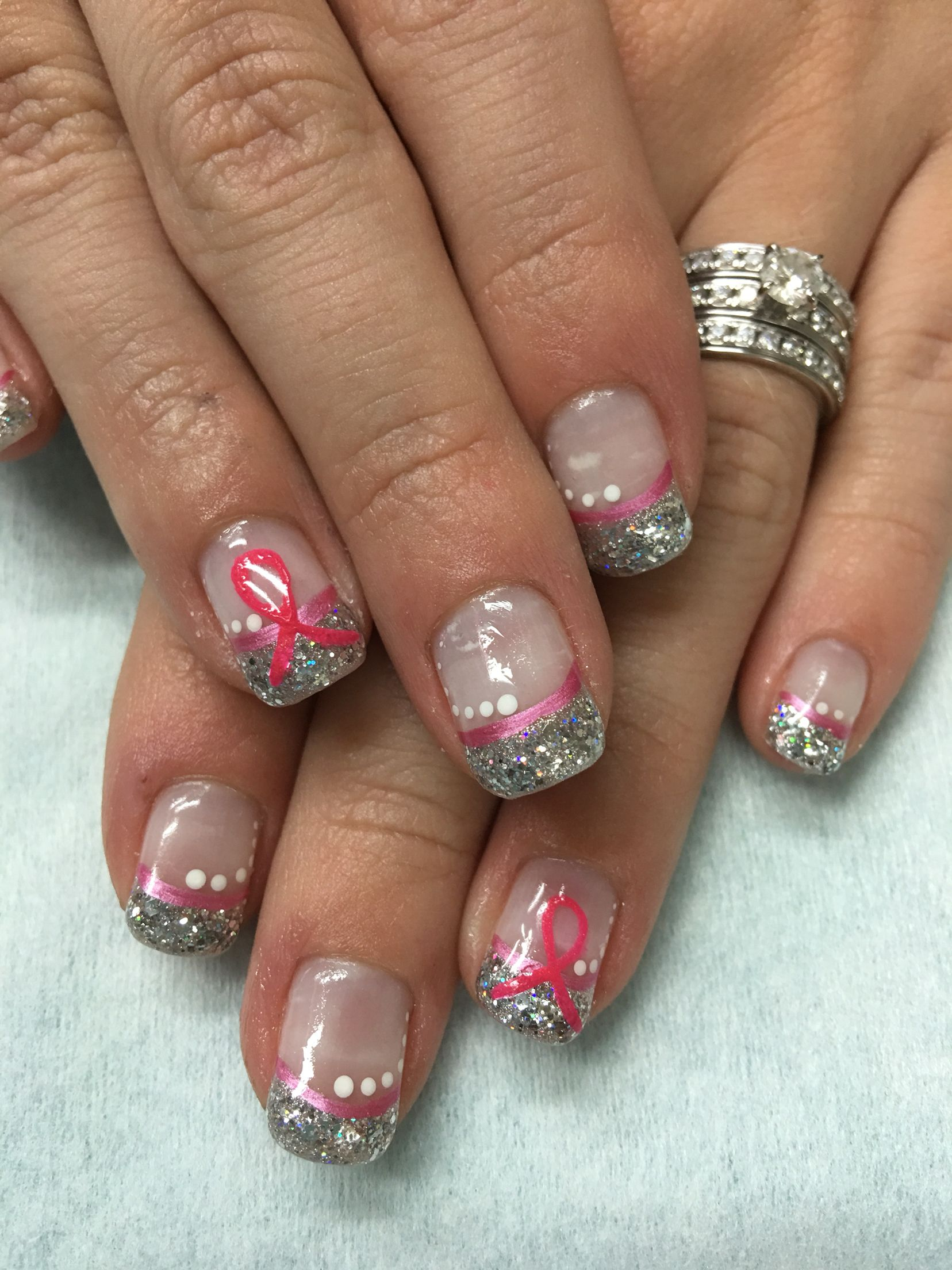 Pink Ribbon Silver Bling Glitter gel nails | Gel Nail designs ...