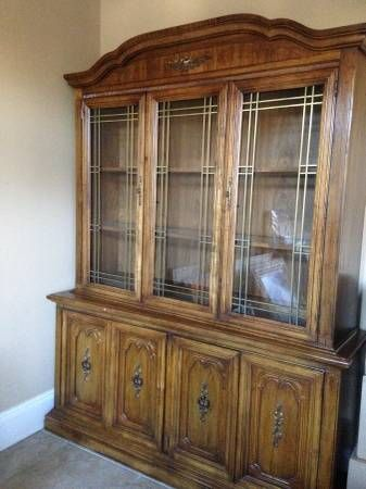 Solid Wood Dining Room Chairswith Matching China Cabinet In Garage Sale Marrero LA