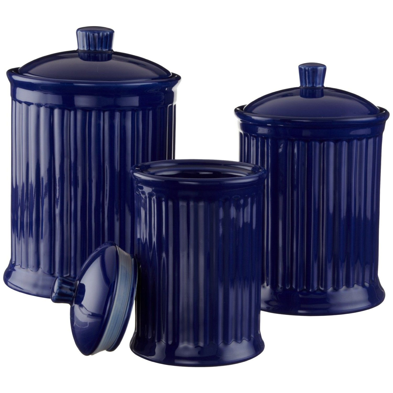 Cobalt Blue Kitchen Have A Cobalt Blue Canister Set With From Navy Blue Kitchen Accessories Navy Blue Kitchen Blue Kitchen Accessories Cobalt Blue Kitchens