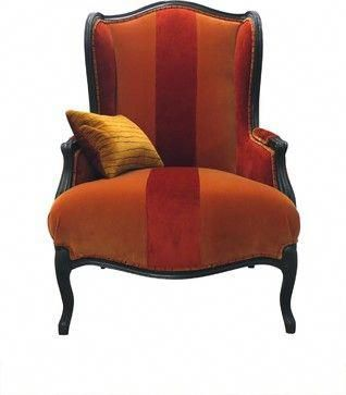 red and orange velvet wingback chair traditional accent chairs rh pinterest com