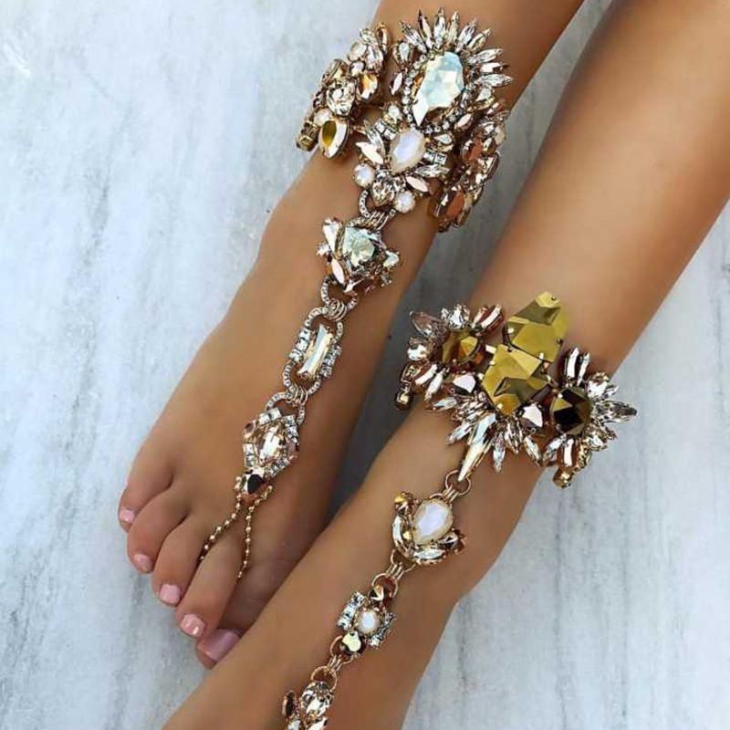 bracelets item bracelet statement female boho crystal beach sandals ankle sexy chain australia anklet leg omgala vacation