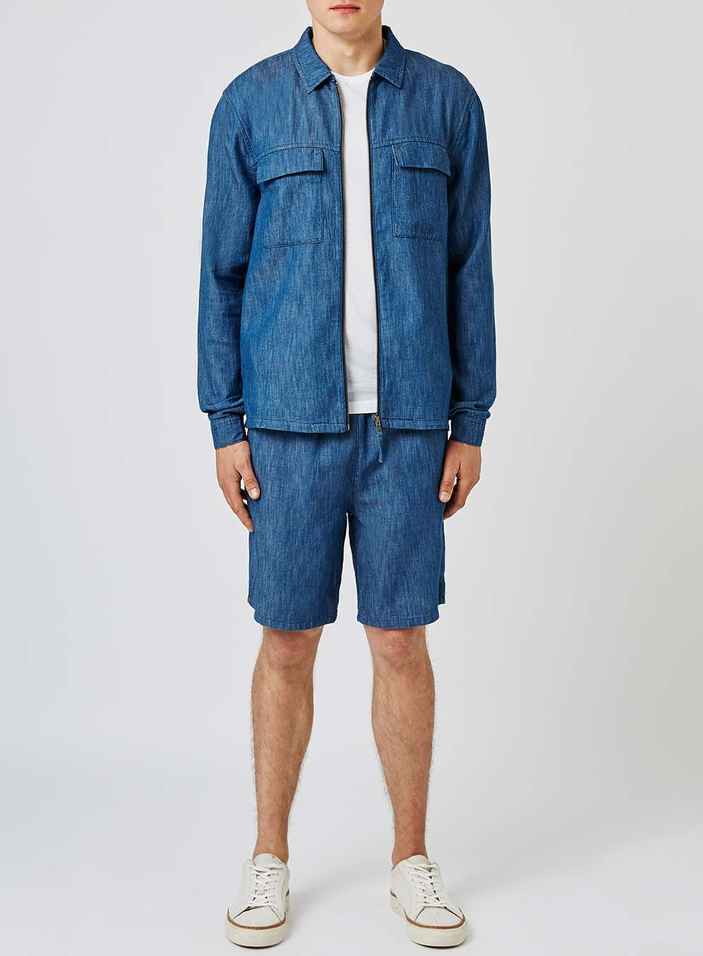 03f7c7f6b5d LTD Blue Chambray Linen Mix Shorts - View All Clearance - Clearance - TOPMAN