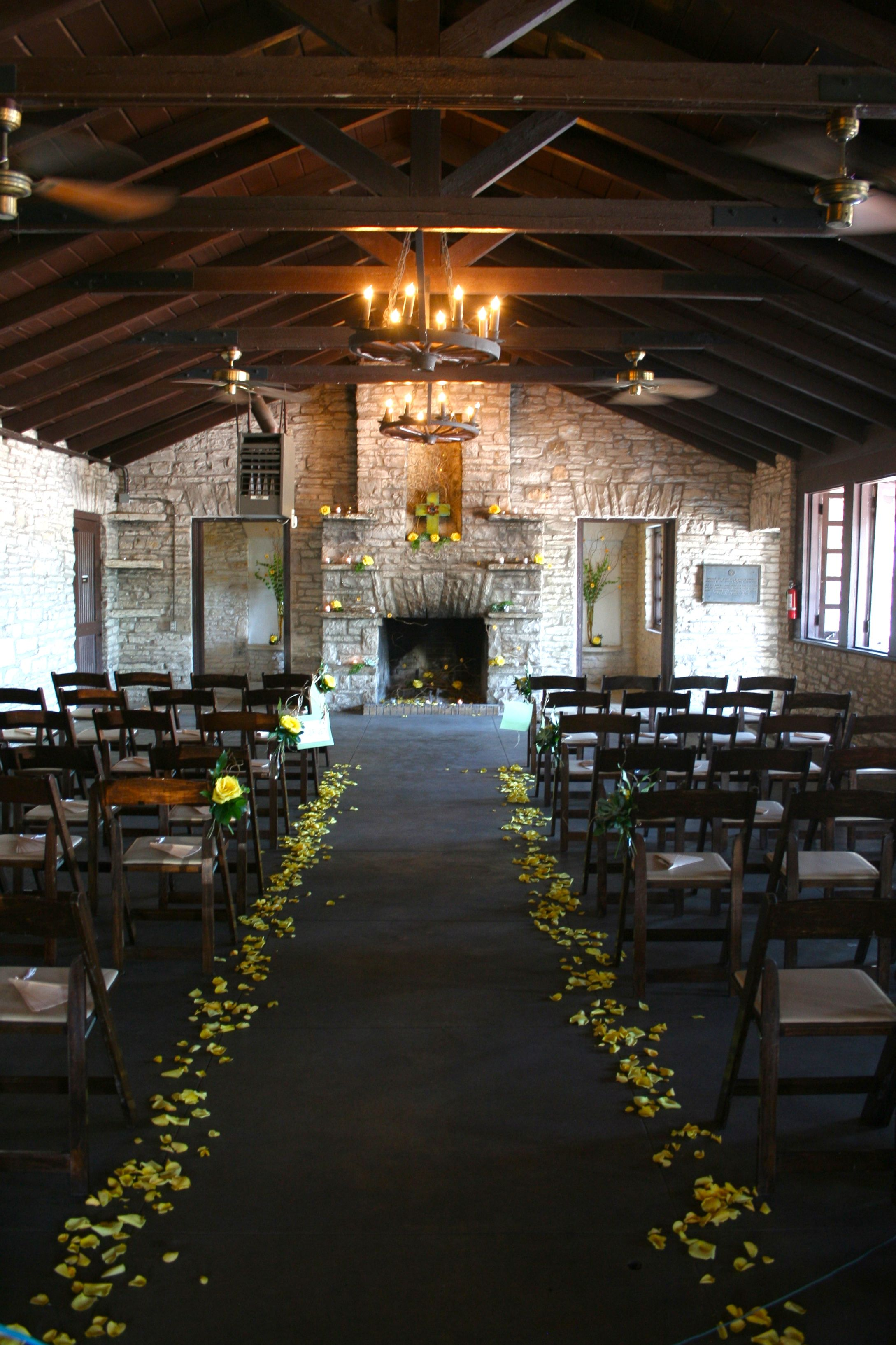 Zilker clubhouse hearth altar view i like the rose petals as a room divider