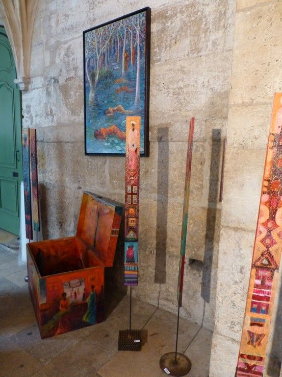 Painting (Rêve Bleu), trunk, and palettes by Islam Zian-Alabdeen http://entreetoblackparis.blogspot.fr/2013/03/africa-unlimited-at-cloitre-des.html