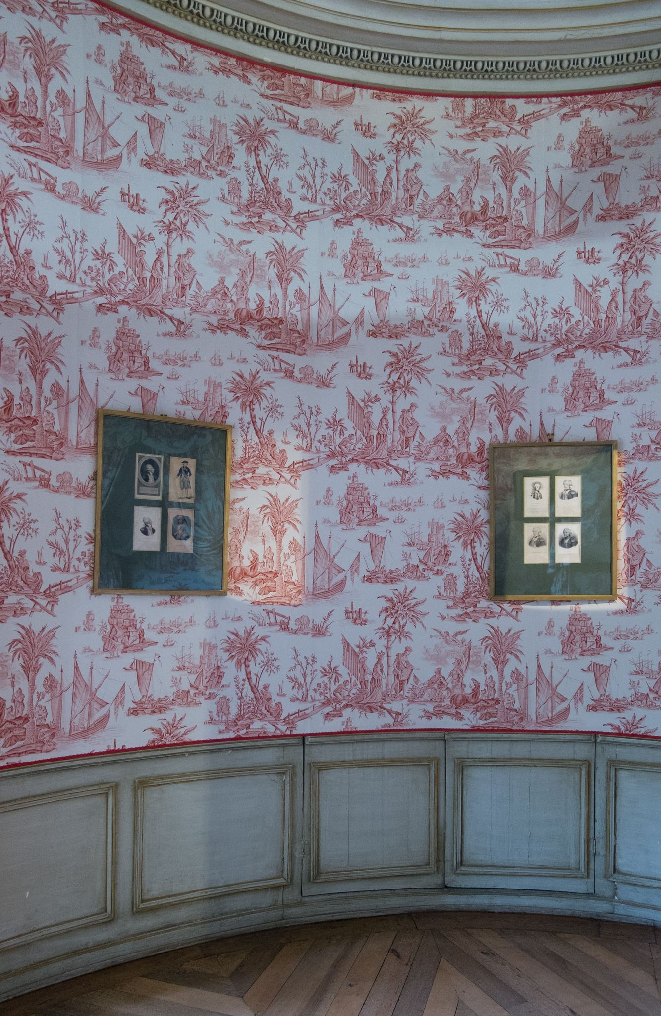 Chateau Lafayette Chavaniac Lafayette Haute Loire France Red Toile New Orleans Decor Wallpaper