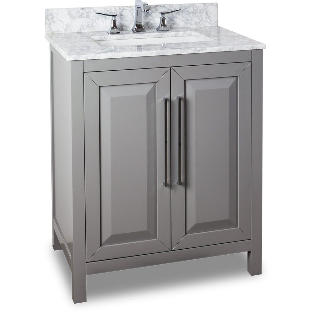 30 Inch Bathroom Vanity Grey Finish Carrera White Marble