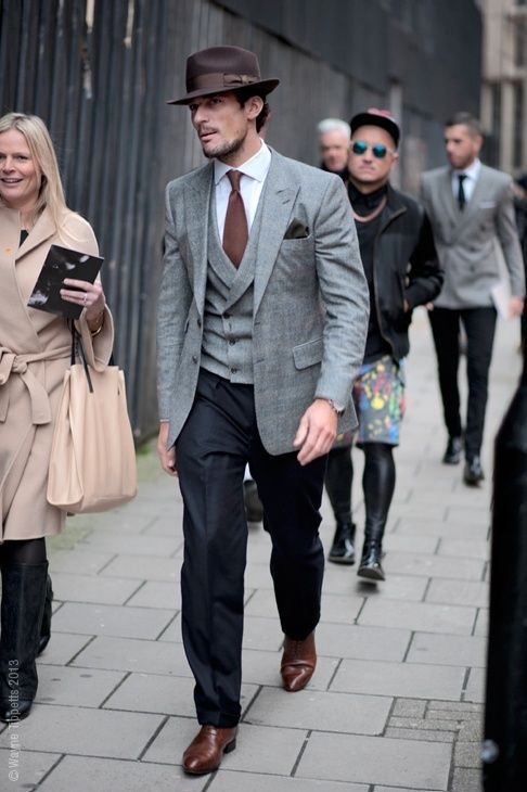 David Gandy keeps it trim in a mismatched three piece suit #menswear
