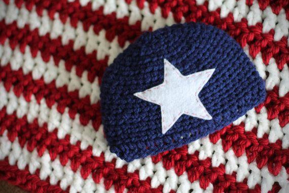 Infant American Flag Crochet Hat   Mini Blanket Set by EmilyKats1 ... 627ec6275a50