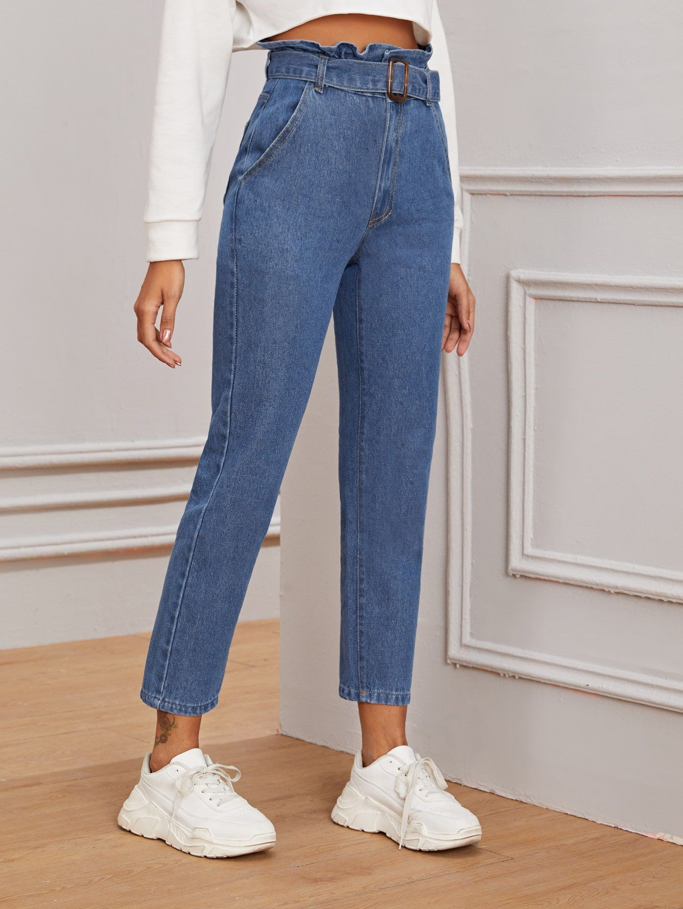 Ad: Paperbag Waist Belted Crop Mom Jeans. Tags: Casual, Blue