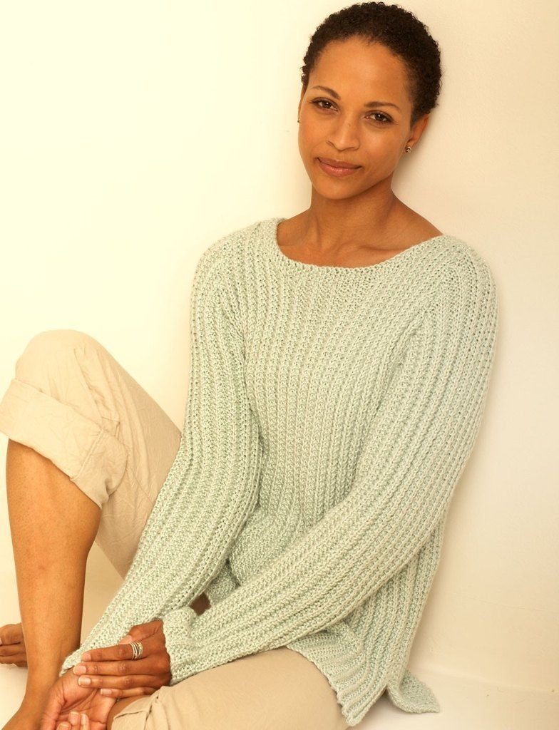 Textured Pullover in Bernat Handicrafter Cotton Solids ...