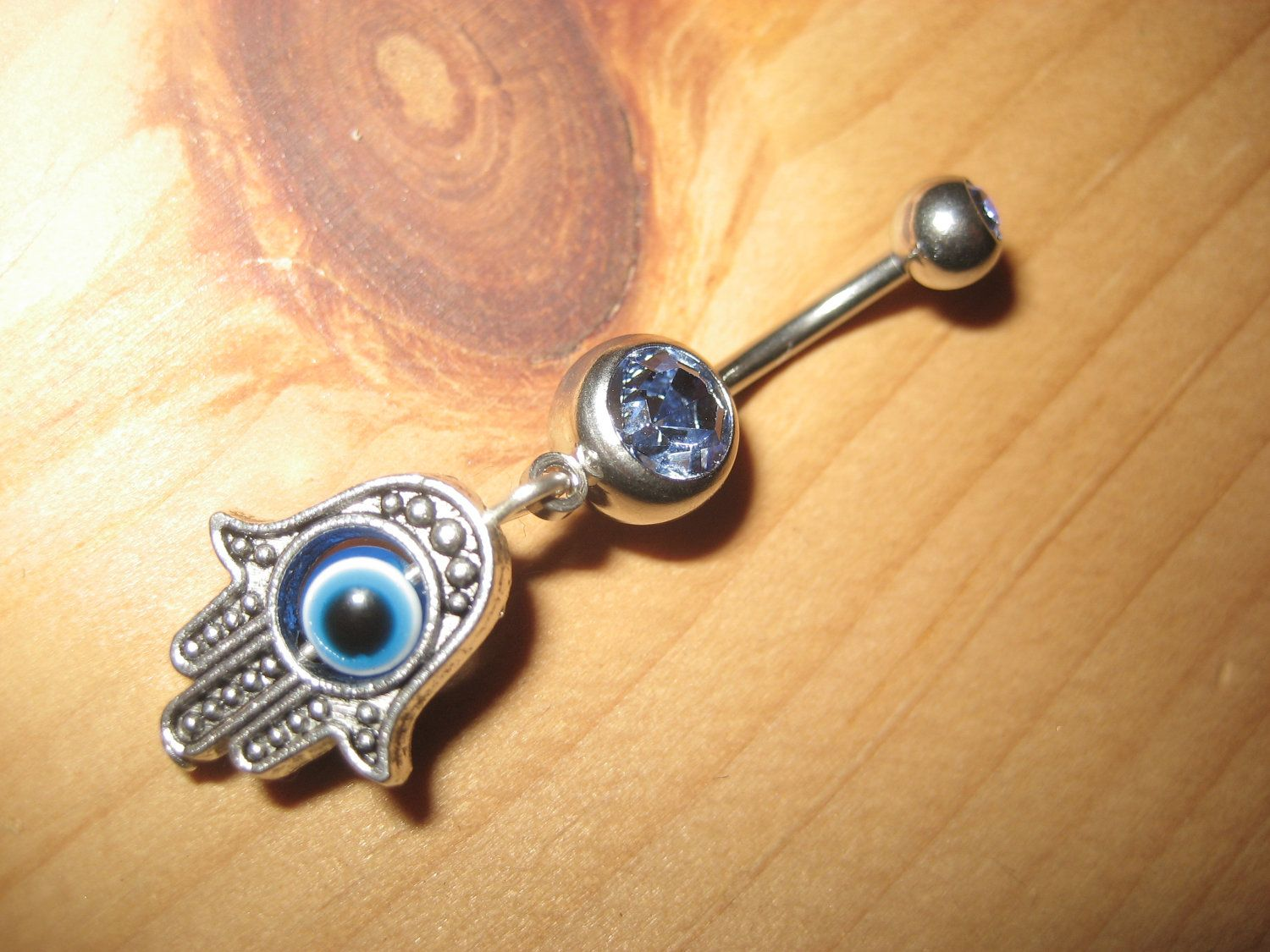Evil Eye Belly Button Ring Blue Hamsa Hand Of Fatima Charm Navel
