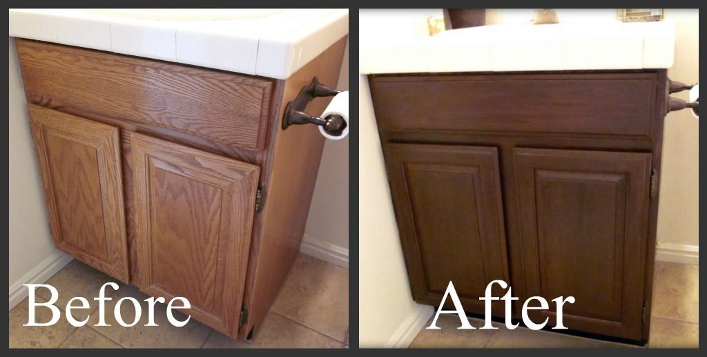 Progress On The Main Floor Bathroom Staining Oak Cabinets Painting