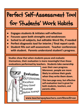 Student SelfAssessment Of Work Habits Strengths  Weaknesses