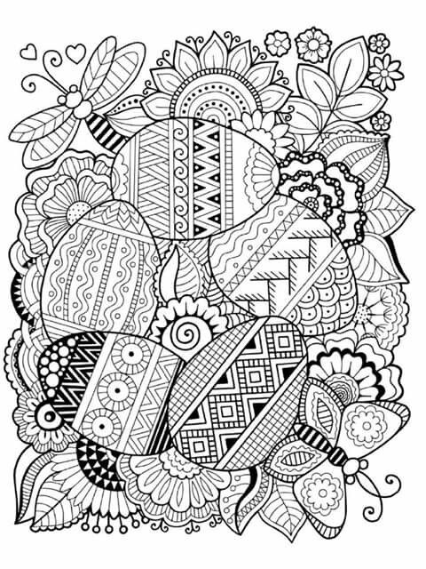 Hand Drawn Artistic Easter Eggs Pattern For Adult Coloring Page ... | 640x480